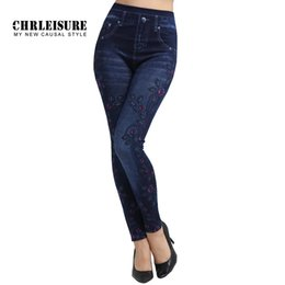 Wholesale Knit Waist Jeans - Wholesale-CHRLEISURE Flowers Print Denim Leggings Women Fashion Blue Slim High Waist Elasticity Large Size Jeans Leggings Jeggings Pants
