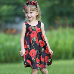 Bebé rosas rojas vestidos online-Vestido de niña de verano de Pettigirl al por menor con diadema Rosas rojas grandes y arco Ropa de diseñador para niños GD80810-66F