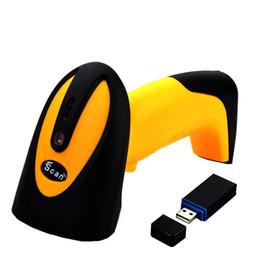 Arma de scanner de código de barras usb on-line-Atacado-433MHz Scanner de código de barras sem fio alta velocidade de varredura CCD Scanner para Supermercado DHL Bar Code Reader CCD Bar Gun com armazenamento