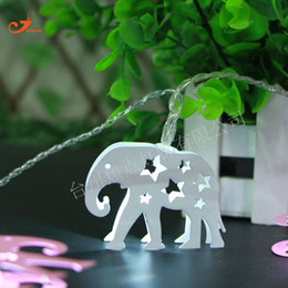 animales con cable Rebajas Al por mayor- NUEVO 2017 Animal Elephant 10 LED String Lights material de acero inoxidable con pilas de alambre de plástico transparente Home fancy lamp