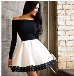 Wholesale Shoulder Off Long Sleeve Dresses - 2016 new sexy women winter dresses lace bodycon Black white mixed color long sleeve off the shoulder ball gown evening party bandage Dress