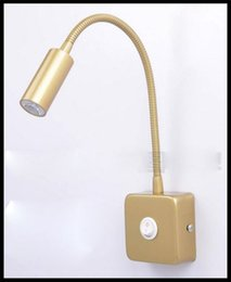 Wholesale Square Bedside Lamp - AC100-240V 3W European-style Bronze led wall light bedside lamp reading lamp square base house lighting paint mirror light white switch