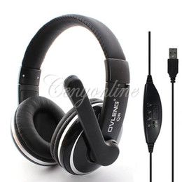 Wholesale Headphones Line Microphone - Original Ovleng Q6 Super Bass Stereo USB Game Gaming Headset with Microphone Line Controlle Headphones for PC Computer Laptop