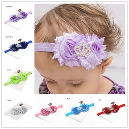 Wholesale Shabby Chic Flower Bow Wholesale - 5pcs Shiny Shabby Chic Flower headbands Little Girls Hair Bow baby's Hairbow Chiffon flower baby headbands Baptism Gift