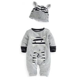Venta al por mayor- 2016 nuevos bebés ropa de bebé León de dibujos animados Panda cebra de manga larga Leotard Romper + Conjuntos de sombrero mono ocasional desde fabricantes