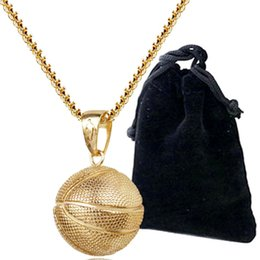 Wholesale Men Basketball Necklace - 2018 Fashion Basketball Pendant Necklace Gold Silver Plated Stainless Steel Chain Retro sport Necklace Jewelry Accessories for women men