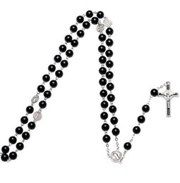 Wholesale wholesale diamond beads - Cross Pendant Necklace Long Rosary Chain Beads Silver necklace Drop Cross necklace For Men women Gift