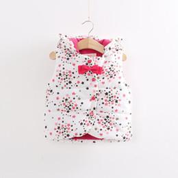 Wholesale Girls Lovely Coats - 2015 New winter baby girls hooded vest children girl lovely Bow stars pattern wood ear cotton vest coat C001
