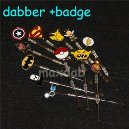 Wholesale Captain America Badge - Wax dabber tools atomizer 120mm dab jar smoking tool for dry herb titanium nail with Captain America Batman Superman Super hero Skull Badges