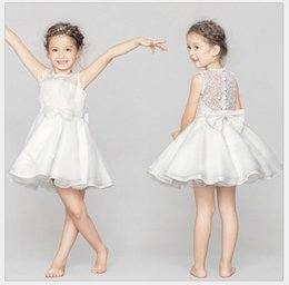 Wholesale dress cotton yarn - High Quality Sleeveless Girl Net Yarn Baby Lace Vest Dresses Floral Printed Hollow Out White Wedding Dress Party Prom Dress Children Clothes