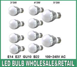 Wholesale Dimmable Ball Light 15w - Free shipping 10pcs lot Retail Dimmable led Bubble Ball Bulb AC85-265V 9W 12W 15W E14 E27 B22 GU10 High power Globe light LED Light