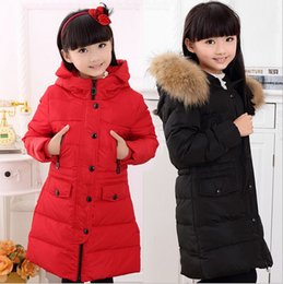 Wholesale Duck Down Girls - Down Coats Girl Winter Collar Hooded Outerwear Coat Children Down Jackets Children's Thickening Jacket Cold Winter 6-17Y
