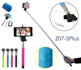 Wholesale Extendable Handheld - Wholesale Z07-5s Selfie Monopod Stick Extendable Handheld Monopod Tripod Extender Sticks 3.5mm wired Cable Take Pole for iPhone Samsung
