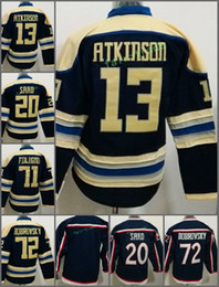 Wholesale Jacket Grey Boy - Youth Kids Columbus Blue Jackets #13 Cam Atkinson 20 Brandon Saad 71 Nick Foligno 72 Sergei Bobrovsky Blank Blue Hockey Jersey