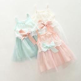 Wholesale Cute Line Skirts - 2015 summer girls suspender veil skirt cute bowknot suspender skirt girls vest dress kids sleeveless dress