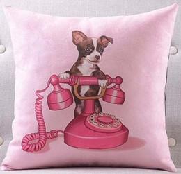 Wholesale High Heel Sofa - Cute Chihuahua Pug Pet Dog With Telephone Handbag High Heels Cushions Pillows Covers Decorative Sofa Seat Velvet Cushion Cover Pillow Case