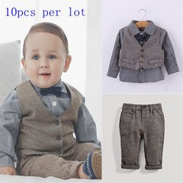 Wholesale Cheap Plaid Ties - Wholesale Spring Cheap Children Preppy style clothe suits long sleeve plaid bow tie shirt + denim vest +denim pants Children clothes outfits