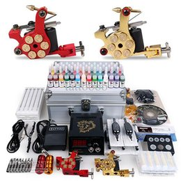 Wholesale Tattoo Complete Disposable Kits - Professional Complete Tattoo Kit Gun 2 Machines 40 Colors Inks Sets 50 Pieces Disposable Needles Power Supply Tips Grips USA Free Shipping