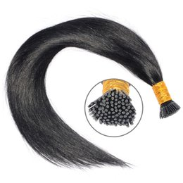 Wholesale Hair Extensions 1g Strand - I Tip Pre Bonded Hair Extensions 1g strand 100g 150g 200g Natural Color Straight Stick Tip Human Hair Extensions
