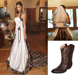 Wholesale Boot Cowboy 12 - Camo Wedding Dresses+ Wedding Veil+ Camo Boots Sweetheart Strapless Taffeta Court Train Lace-Up Tulle Veils Cowboy Boots For Women 2015