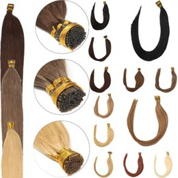 Wholesale I Tip Indian Virgin Hair - Grade 7A Indian Remy Kertain I Tip Stick Extension Color1b 1g Strand Free Shipping
