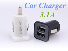 Wholesale Galaxy S3 Charging Port - USAMS USB 3.1A Dual USB Ports mini Car Charging Power Adapter portabl Universal for iPhone 6 5s HTC Samsung Galaxy S5 S4 S3 S6 FREE DHL