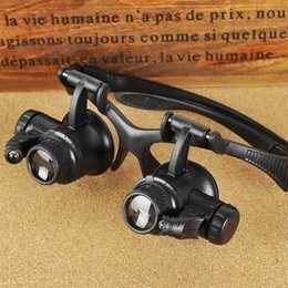 Wholesale Magnify Eye Glasses - 10X 15X 20X 25X Jeweler Watch Repair Magnifying eye Glasses Style Magnifier Loupe Lens With LED Light 9892G