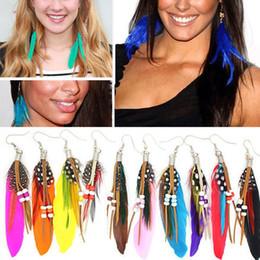 Wholesale Goose Feathers Earrings - 100Pcs Lot New Fashion Luxurious Jewelry Women Girls Trendy Beading Goose Feather Dangler Earrings Free [JE04002*50]