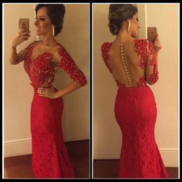 Wholesale Half Pearl Buttons - Sexy Red V Neck Half Sleeve Lace Mermaid Prom Dresses 2016 Long Pearls Evening Dresses Backless vestido longo para festa