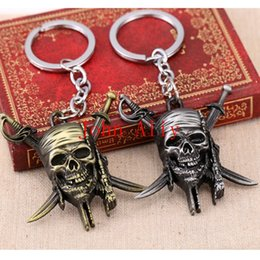 Wholesale Girl Skull Pendant - Hot selling Movie Series New Design Fashion Accessories Pirates of the Caribbean Skull Antique Silver Pendant Keychain