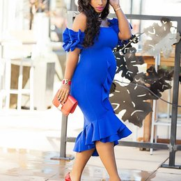 Wholesale Vintage Street Lights - 2018 Pregnant Streets Sexy Charming Cocktail Dresses Mermaid Off the shoulder Capped Short Sleeve Tea-Length Ruched Royal Blue Party Dresses