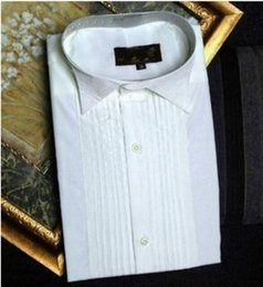 Wholesale 43 L Tuxedo - Groom Tuxedos Shirts Best Man Groomsmen White or Black Men Wedding Shirts