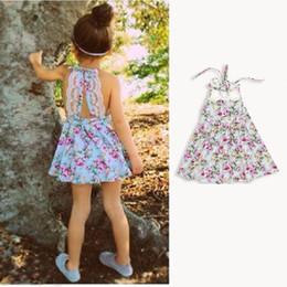 Wholesale Shoulder Straps Military - Wholesale- 2016 New Summer Korean Princess Cotton Flower Girls Lace Dress with Shoulder-straps Child Girl Tutu Dress