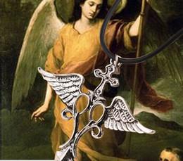 Wholesale Children Vintage Necklace - wholesale silver plated vintage alloy Virtues angel wings Raphael Archangel necklace child Sword pendant Cross necklace unisex 207 Hot x058