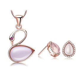 Wholesale Pink Gemstones Earrings - Guarantee Natural Pink Ross Quartz Swan Sets 100% 925 Silver Jewelry Gemstone Love Set for Women Top Quality Free Shipping