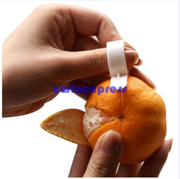 Wholesale Plastic Orange Peelers - New 100pcs lot Creative Plastic Orange Lemon Citrus Peelers Easy Slicer Cutter Skin Remover kitchen gadget tools