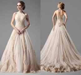 Wholesale Satin Beadwork - Elegant A-Line Princess Halter Sleeveless Chapel Train Satin Tulle Wedding Dress With Lace Beadwork Lace Up