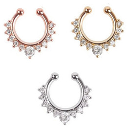 Wholesale Fake Gold Jewelry - 10pcs fine jewelry rose gold and silver none piercing fake septum ring crystal nose ring fake piercing Free shipping N0020