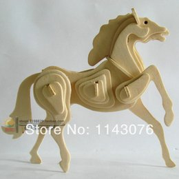 Wholesale Wooden Horse Animals - Wholesale-Wool 3d puzzle animal model wooden puzzle zodiac horse