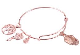 Wholesale Wholesale Wire Style Bracelets - New arrive 5PCS Fashion bangle bracelet Rose Gold Plate animal style Charm Expandable Wire Bracelet Bangle