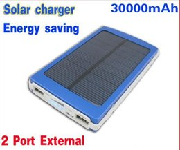Wholesale External Battery Supply - Mobile power supply 30000mAH Energy saving Solar Charger 2 Port External Battery Pack Power Bank For Cellphone iPhone 4 Portable A5
