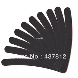 Wholesale Long Nails Tips - Wholesale 30pcs Large Long Professional Crescent Art Grit Black Sandpaper File Nail Files for Nail Art Tips Manicure