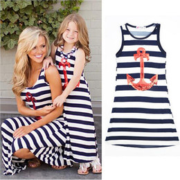 Wholesale Look Casual Girl - Mother And Daughter Clothes Summer Family Look Kids Girls Dresses Mother And Daughter Striped Dress Anchor Matching Family Clothes Outfits