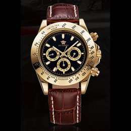 Wholesale Automatic Wrist Leather Date Mechanical - OUYAWEI Mens Watches Black Dial Gold Plated Case Self winding Mechanical Day Date Automatic Black Genuine Leather Band Wrist Watch W094