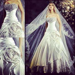 Wholesale Strapless Luxurious Satin - Luxurious Rami Salamoun A-Line Beads Wedding Dresses Pleats Strapless Satin Applique Rhinestone Bridal Gowns