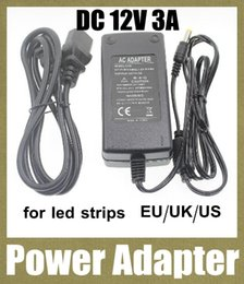 Wholesale 12v Usb Power Supply - dc ac power adpater charger battery supply 12v 3a power charger with usb cable for waterproof led strip eu au us uk plug DY003