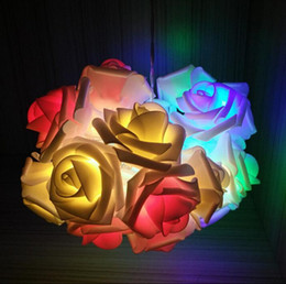 Wholesale Battery String Flower Lights - 2M 20Led Led Rose Flower Fairy String Light 3X AA Battery Operated Wedding Party Decoration Decor Floral String Pink White Blue Green Purple