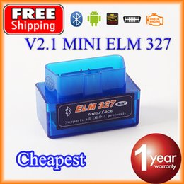 Wholesale Obd2 Elm327 Bluetooth Adapters - Wholesale-Cheapest Super MINI Bluetooth ELM327 V2.1 OBD2   OBDII ELM 327 for Android Torque Car Code Adapter FREE SHIPPING