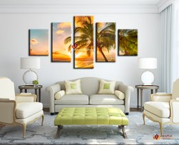 Wholesale Seascape Canvas Prints - Free shipping 5 Piece Modern Paintings On Canvas Sunset Seascape Inclued Coco Beach HD Picture Cheap Modern Canvas Art For Living Room