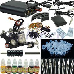 Wholesale Tatoo Kit Ink - Wholesale-OPHIR 269pcs set Tattoo Kit Tatoo Machine Gun 7Colors Tattoo Inks Pigment Induction Tattoo Machine for Beginner Body Tattoo Art